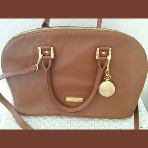 Joy & Iman Brown Leather Satchel w/pocket watch